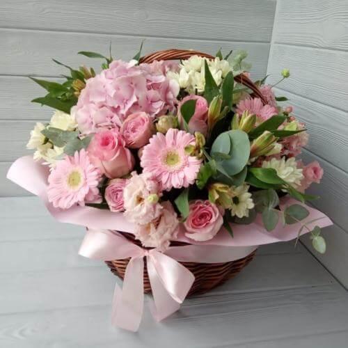 № 479 корзина с гортензией и розами