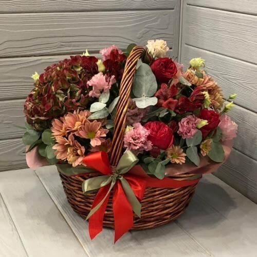 № 398 корзина с розами и гортензией