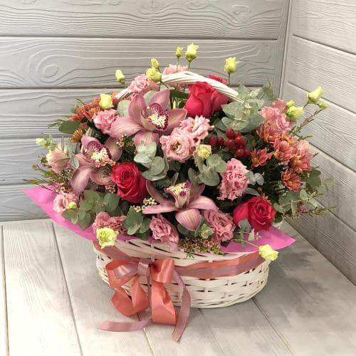 № 509 корзина с розами и орхидеями