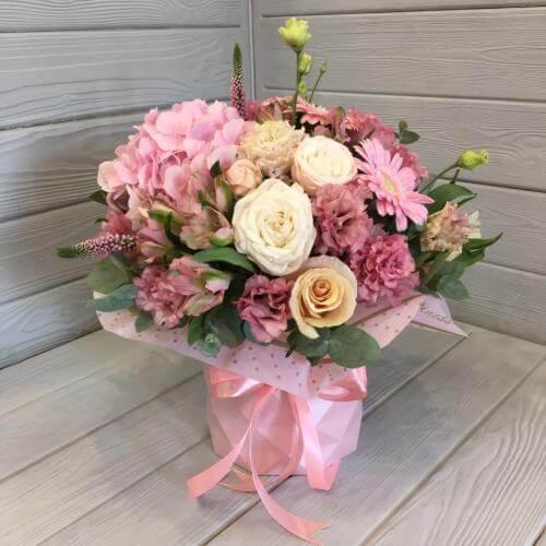№ 510 букет в шляпной коробке с розами и гортензией