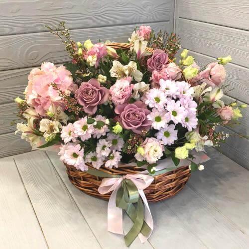 № 513 корзина с розами и гортензией