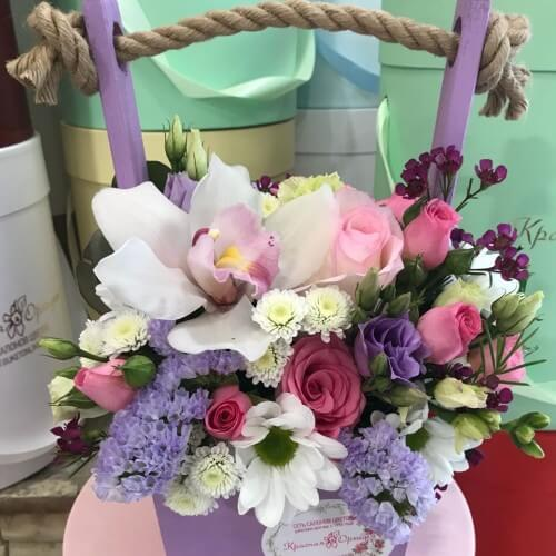 № 411  ящик  с орхидеей и розами