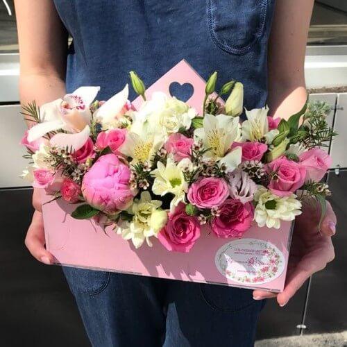 № 465 конвертик с орхидеей и розами