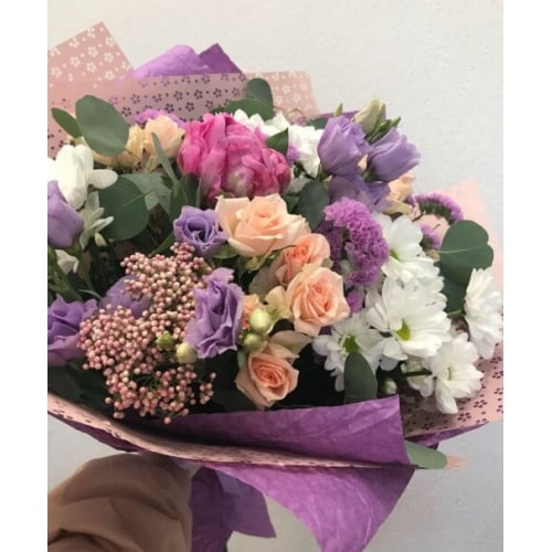 № 640 букет с розами,пионами и хризантемой