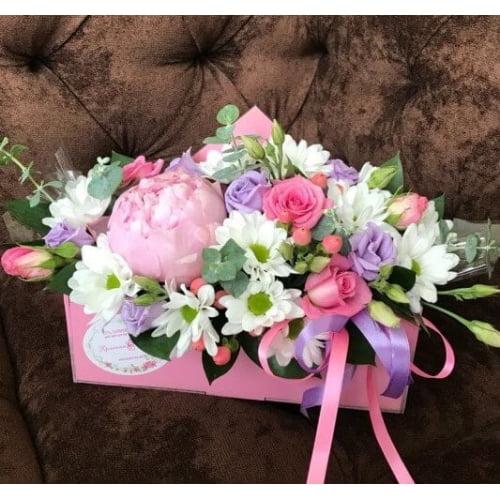 № 407 конвертик с пионом и розой