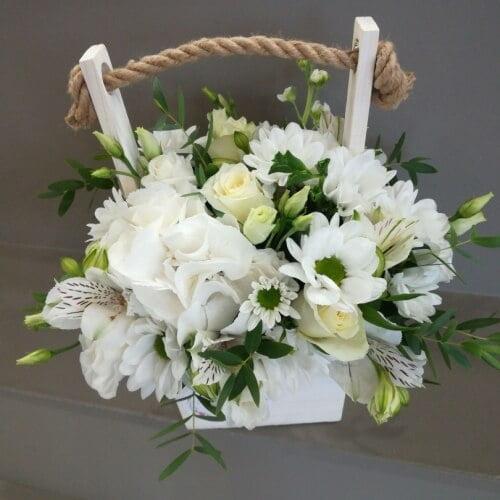 № 469 ящик с розами и гортензией