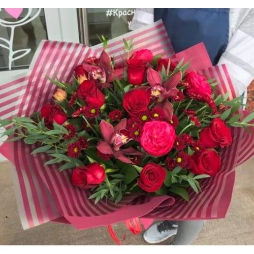 № 707 букет с розами и орхидеями