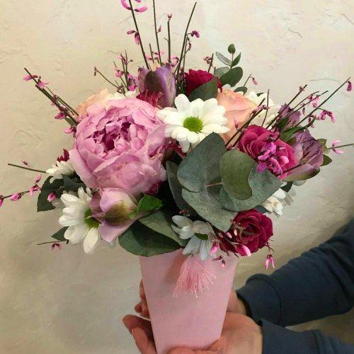 № 0448 коробочка с пионом и розами