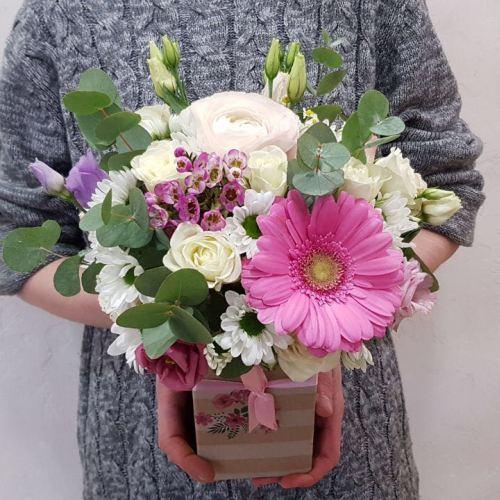 № 500 коробочка с герберой и розой