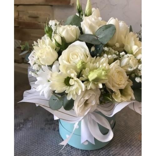№ 507 коробочка с розой и хризантемой