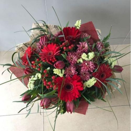 №86 букет с тюльпанами и герберой