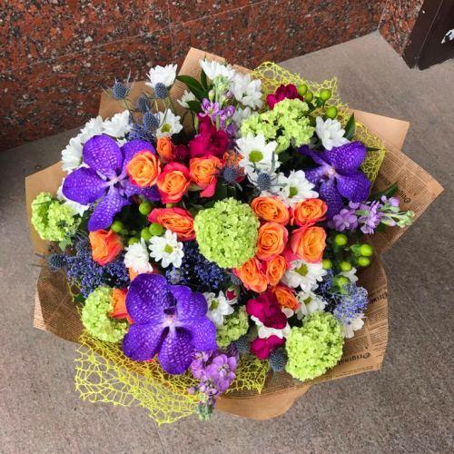 №255 букет с орхидеями и розой
