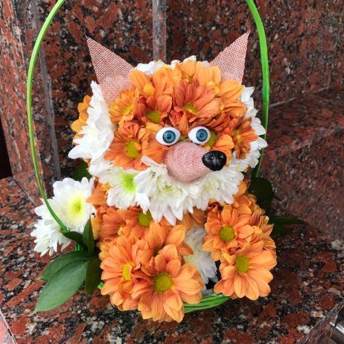 №235 игрушка из цветов лисичка